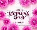 Happy women`s day vector background design with march 8 text