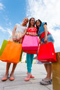 Happy Women After Shopping Royalty Free Stock Photo