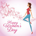 Happy womens day card butterfly decorated background