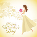 Happy womens day card girl bouquet flowers heart background