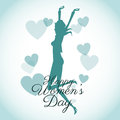 Happy womens day card-silhouette girl blue hearts