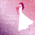 Happy womens day poster girl bouquet flowers bubbles background