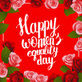 Happy Womens Equality Day postcard with lettering