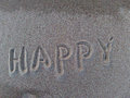 Happy word written on the sand Stock Photo