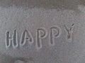 Happy word written on the sand Stock Photo