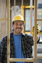 Happy Worker At Construction Site Royalty Free Stock Photo