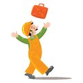 Happy worker in jumpsuit throws up a suitcase an orange and orange helmet with tools Stock Photos