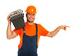 Happy worker man indicate Royalty Free Stock Image