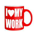 Happy workers employees staff red mug isolated over white motivation etc Stock Photo