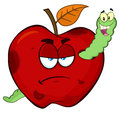 Happy Worm In A Grumpy Rotten Red Apple Fruit Cartoon Mascot Characters.