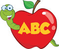 Happy Worm In Red Apple With Glasses And Leter ABC Royalty Free Stock Photo