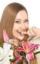 Happy xxl woman biting finger flowers portrait of with bouquet her smiling at camera Royalty Free Stock Photos