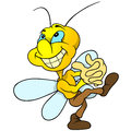 Happy yellow bug cartoon illustration vector Royalty Free Stock Photography