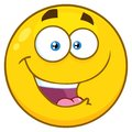 Happy Yellow Cartoon Smiley Face Character With Expression