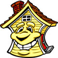 Happy Yellow House with Smiling Face Cartoon Royalty Free Stock Images