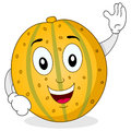 Happy yellow melon cartoon character a cute smiling and greeting isolated on white background eps file available Stock Photography