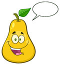 Happy Yellow Pear Fruit With Green Leaf Cartoon Mascot Character