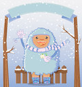 Happy yeti winter holiday card greeting with a smiling holding a snowdrop and waving the banner above the is suitable for adding a Royalty Free Stock Photography