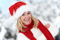 Happy young adult woman at winter Royalty Free Stock Photography
