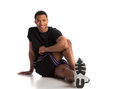 Happy young african american male workout healthy looking athlete ready Stock Photography