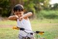 Happy young asia boy  playing kungfu having fun Royalty Free Stock Photo