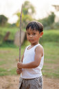Happy young asia boy  playing kungfu having fun Royalty Free Stock Photo