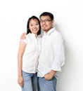 Happy young asian couples white background Royalty Free Stock Photos