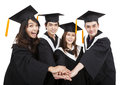 Happy young asian graduate students group success gesture Royalty Free Stock Photo