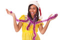 Happy young black woman in christmas cap Stock Photo