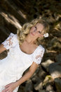 Happy young blond bride Stock Photo
