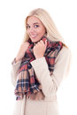 Happy young blond woman in warm clothes isolated on white background Stock Photography