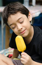Happy young boy eating a tasty ice cream stick Stock Photos