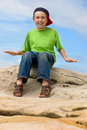 Happy young boy outdoors Stock Photo