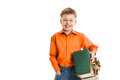 Happy young boy with a present box smiles isolated Royalty Free Stock Photo