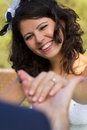 Happy young bride smiling Royalty Free Stock Photo