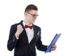 happy young business man with a clipboard in hand Royalty Free Stock Photo