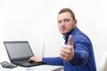 Happy young business man work in modern office on computer Royalty Free Stock Photo