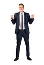 Happy young businessman raised fists Royalty Free Stock Photo