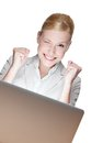 Happy young businesswoman with laptop Royalty Free Stock Image