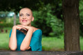Happy young cancer survivor enjoying spring nature after successful chemotherapy Royalty Free Stock Images