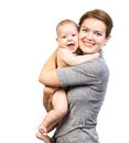 Happy young caucasian woman and her baby son women over white background Royalty Free Stock Image