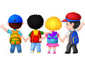 Happy young children cartoon walking together illustration of Royalty Free Stock Photography