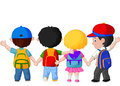 Happy young children walking together illustration of Stock Photos