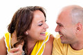 Happy young couple face to face laughing looking at each other Stock Photo