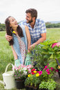 Happy young couple gardening together on a sunny day Stock Images