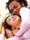 Happy young couple having fun at home Stock Image