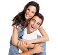 Happy young couple having fun together on white Stock Image