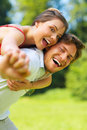 A happy young couple having a good time Stock Photo