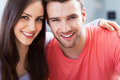 Happy young couple hugging and smiling Royalty Free Stock Images