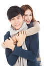 Happy young couple hugging together asian Stock Photography